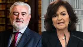 Darío Villanueva, presidente de la RAE, y Carmen Calvo, vicepresidenta del Gobierno.