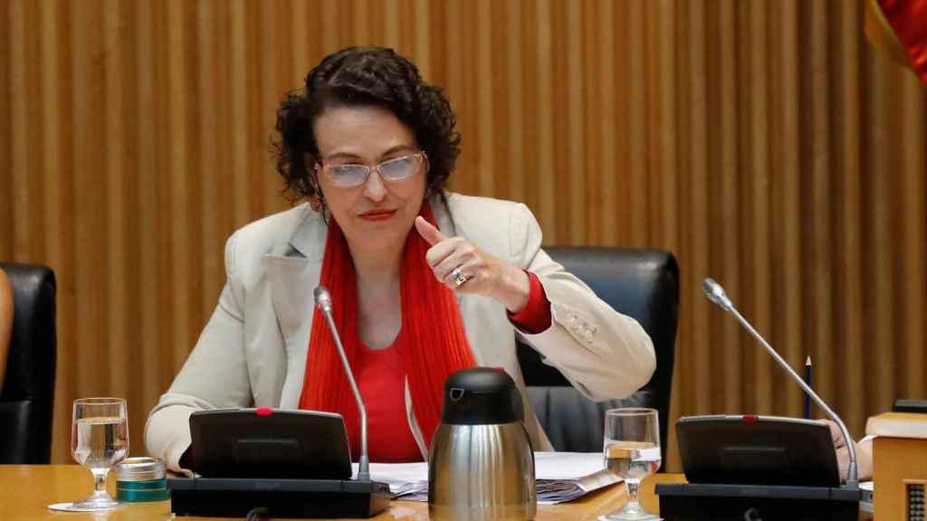 La ministra de Trabajo, Migraciones y Seguridad Social, Magdalena Valerio, este jueves durante la Comisión de seguimiento del Pacto de Toledo.
