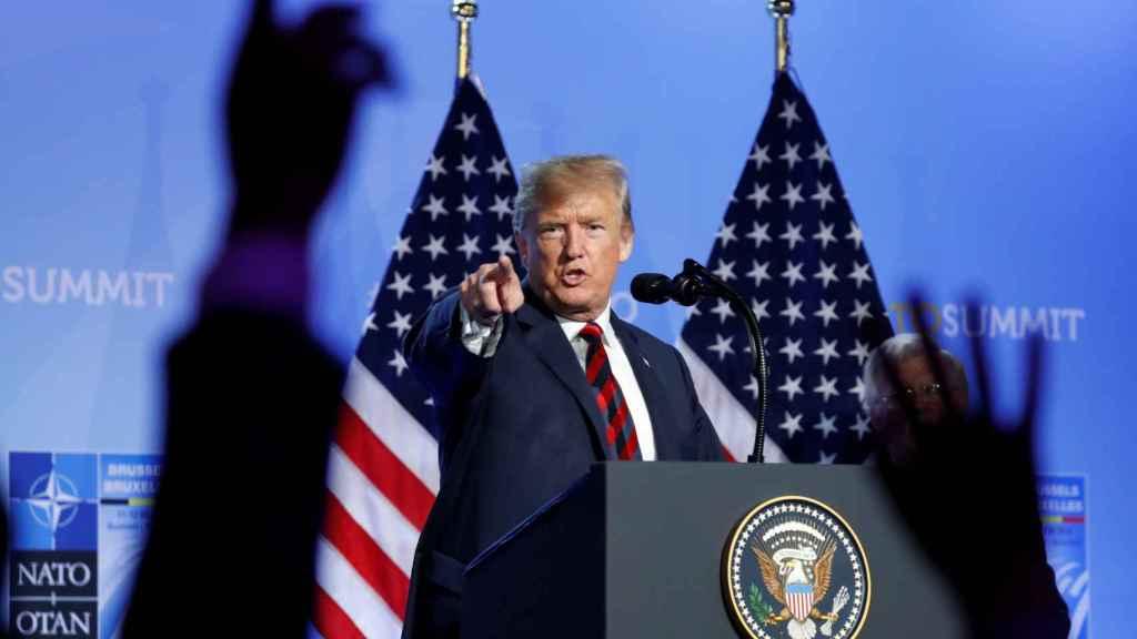 Trump, durante su rueda de prensa final en la OTAN