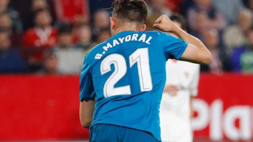 Mayoral, en el partido contra el Sevilla