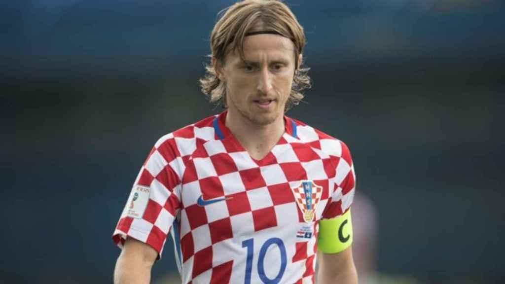 Luka Modric, con la selección de Croacia. Foto: hns-cff.hr