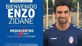 Así ha anunciado el Rayo Majadahonda el fichaje de Enzo Zidane. Foto: rayomajadahonda.es