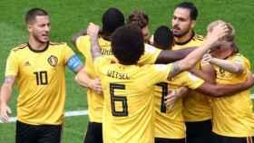 Bélgica celebra su gol ante Inglaterra