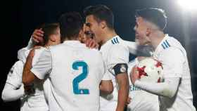 El Castilla celebra un gol
