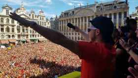 Hazard, aclamado por la afición de Bélgica. Foto Twitter (@hazardeden10)