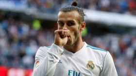 Gareth Bale celebra un gol con el Madrid ante el Celta
