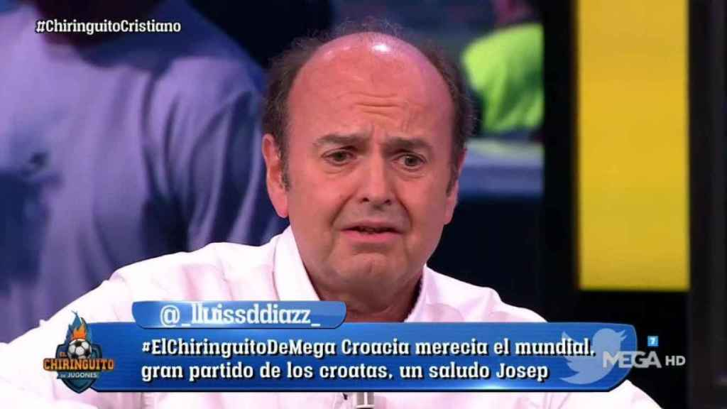 Juanma Rodríguez en El Chiringuito. Foto: Twitter (@elchiringuitotv)