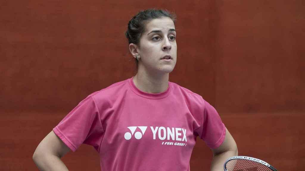 Carolina Marín, concentrada en el entrenamiento.
