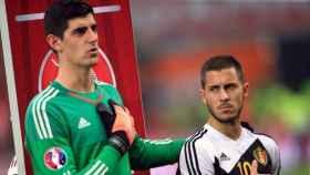Hazard y Courtois con Bélgica