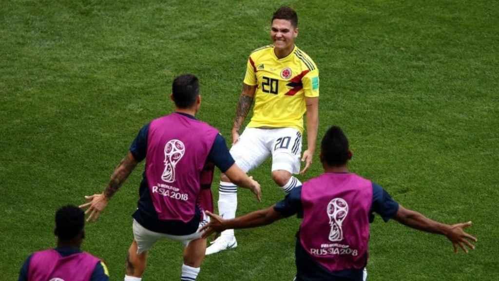 Quintero celebra un gol con Colombia en el Mundial. Foto: Twitter (@juanferquinte10).