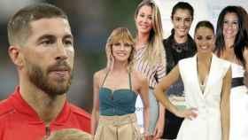 Montaje de Sergio Ramos con Amaia Salamanca, Elisabeth Reyes, Blanca Romero, Lara Álvarez y Nani Gaitán.