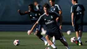 Odriozola en su primer entrenamiento en el Real Madrid