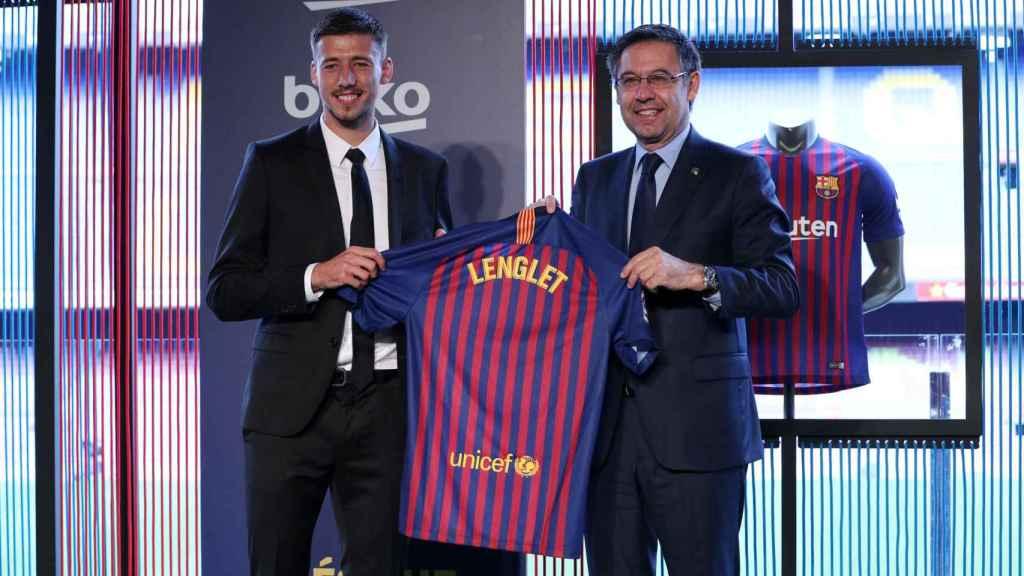 Lenglet, en su presentación con el Barcelona.