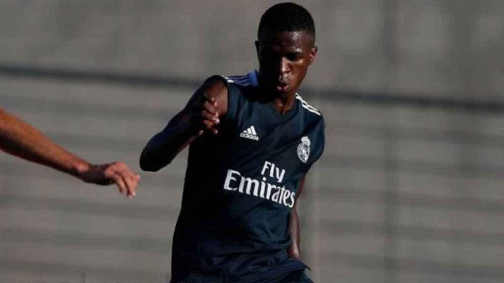 Vinicius, en un entrenamiento del Real Madrid