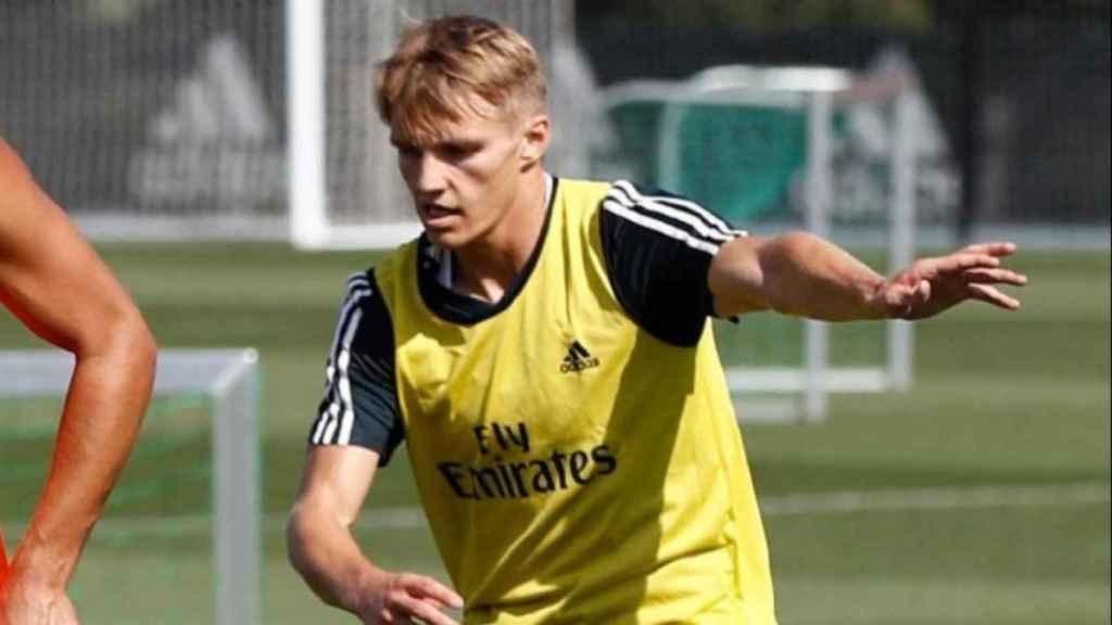 Odegaard, en un entrenamiento del Real Madrid