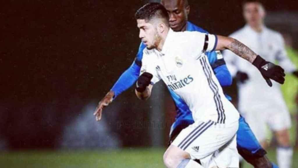 Sergio Díaz jugando un encuentro con el Real Madrid. Foto: Instagram (@sergiodiaz_10_)