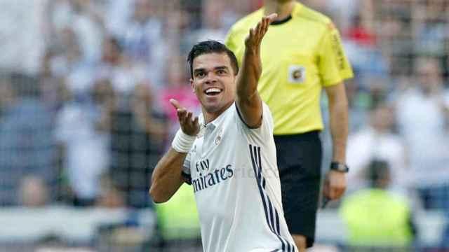 Pepe tras marcar el gol del Madrid