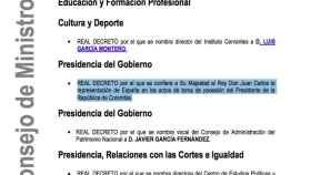 Imagen del pdf de la referencia del Consejo de Ministros en el que figura el encargo a Juan Carlos I.