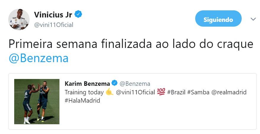 El intercambio de mensajes entre Vinicius y Benzema