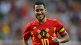 Hazard celebra un gol con Bégica. Foto: Twitter (@BelRedDevils)