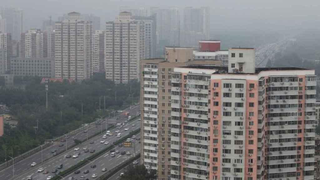 Polución en el Cuarto Anillo de Circunvalación, una masiva autopista de Pekín