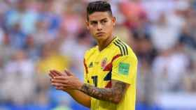 James, durante un partido con Colombia. foto: Twitter (@jamesdrodriguez)