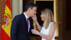 Reunión entre Pedro Sánchez y Susana Díaz, este lunes.
