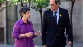 El presidente catalán, Quim Torra, y la delegada del Gobierno en Cataluña, Teresa Cunillera, este lunes.