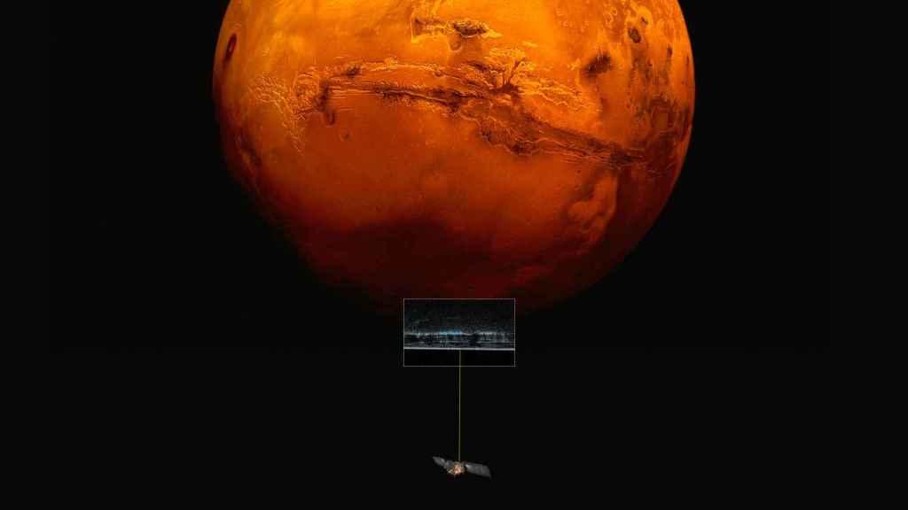 Representación del satélite Mars Express registrando el Polo Sur de Marte