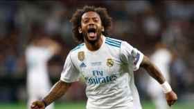 Marcelo celebra con rabia la victoria del Real Madrid