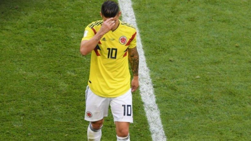 James Rodríguez, al ser sustituido por lesión. Foto: Twitter (@fifaworldcup_es).