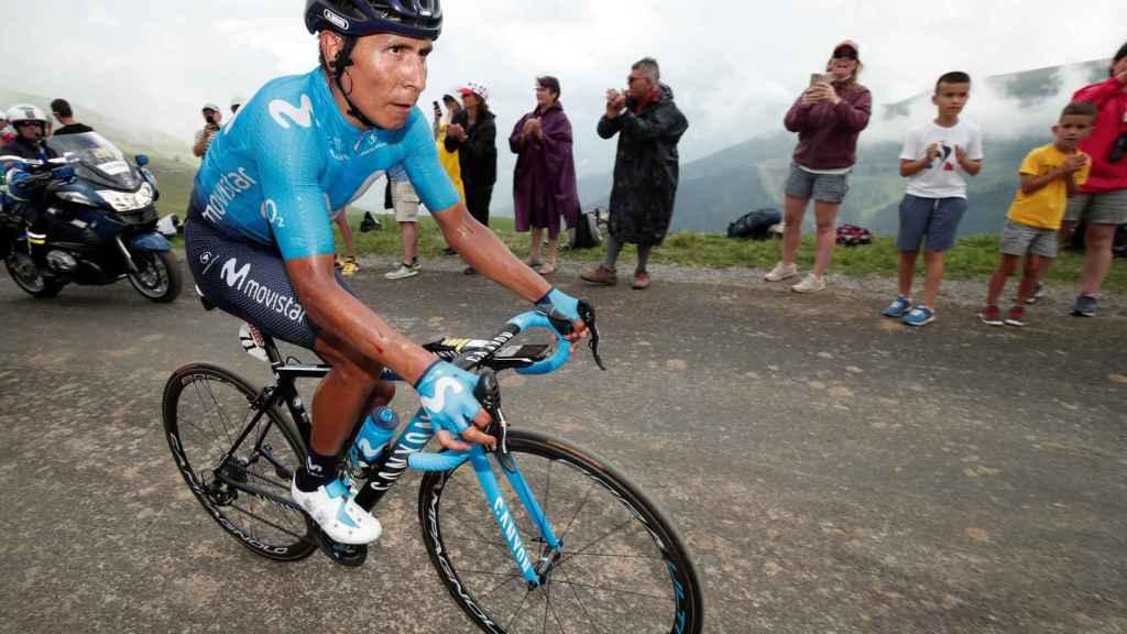 Nairo Quintana en la subida al Col du Portet.