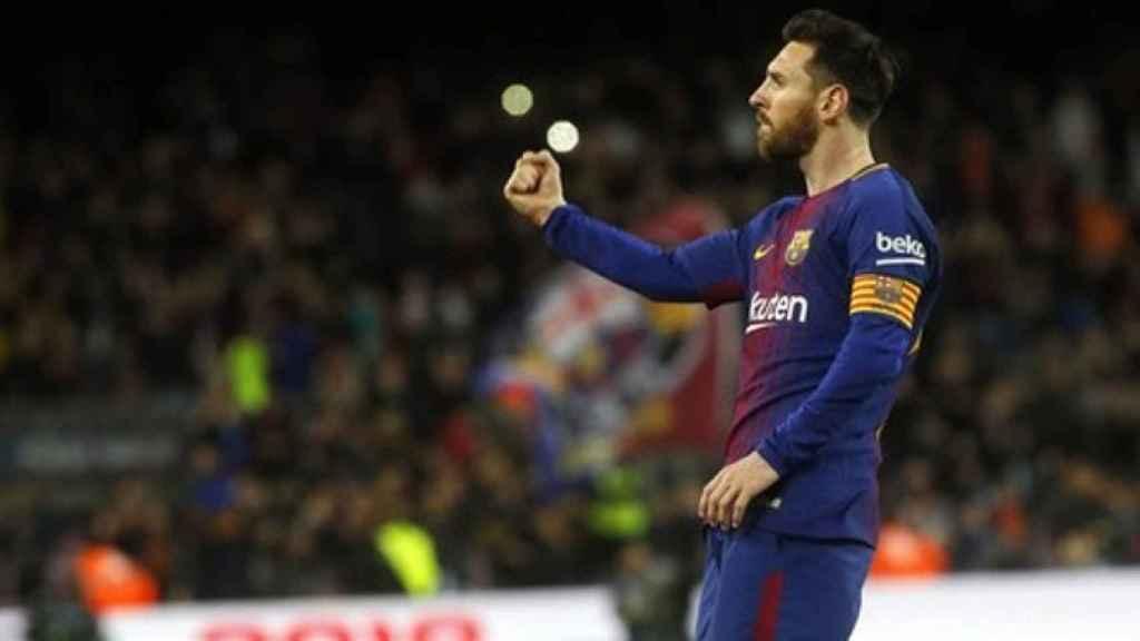 Messi celebra un gol con el Barcelona. Foto fcbarcelona.com