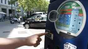 Parquímetro en una calle del centro de Madrid.