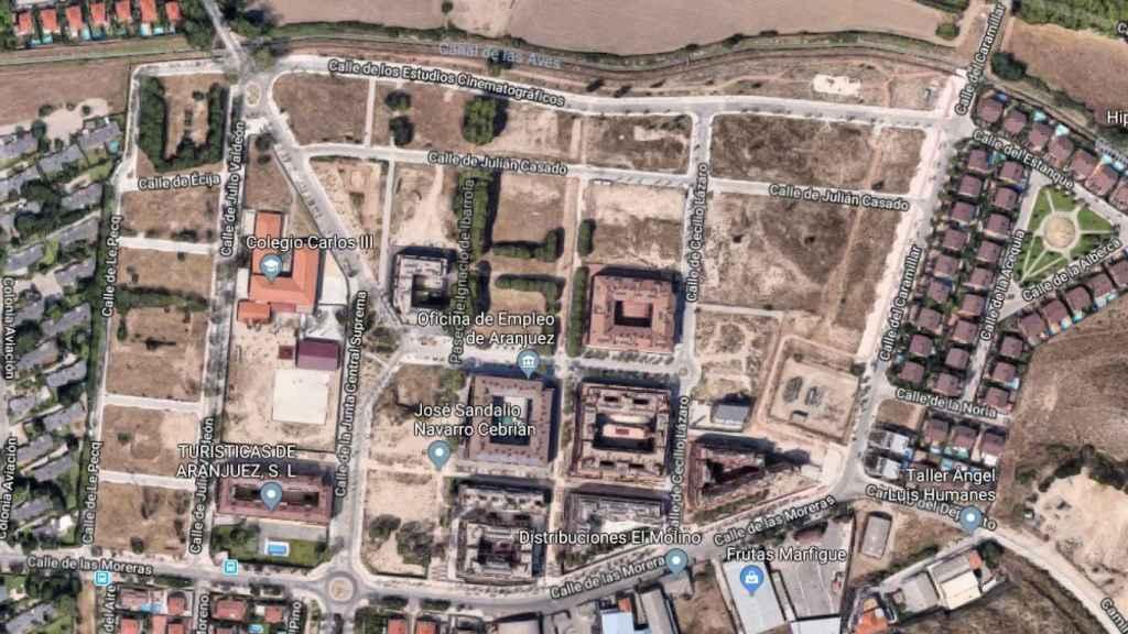 Zona afectada por la recalificación del Ayuntamiento de Aranjuez.