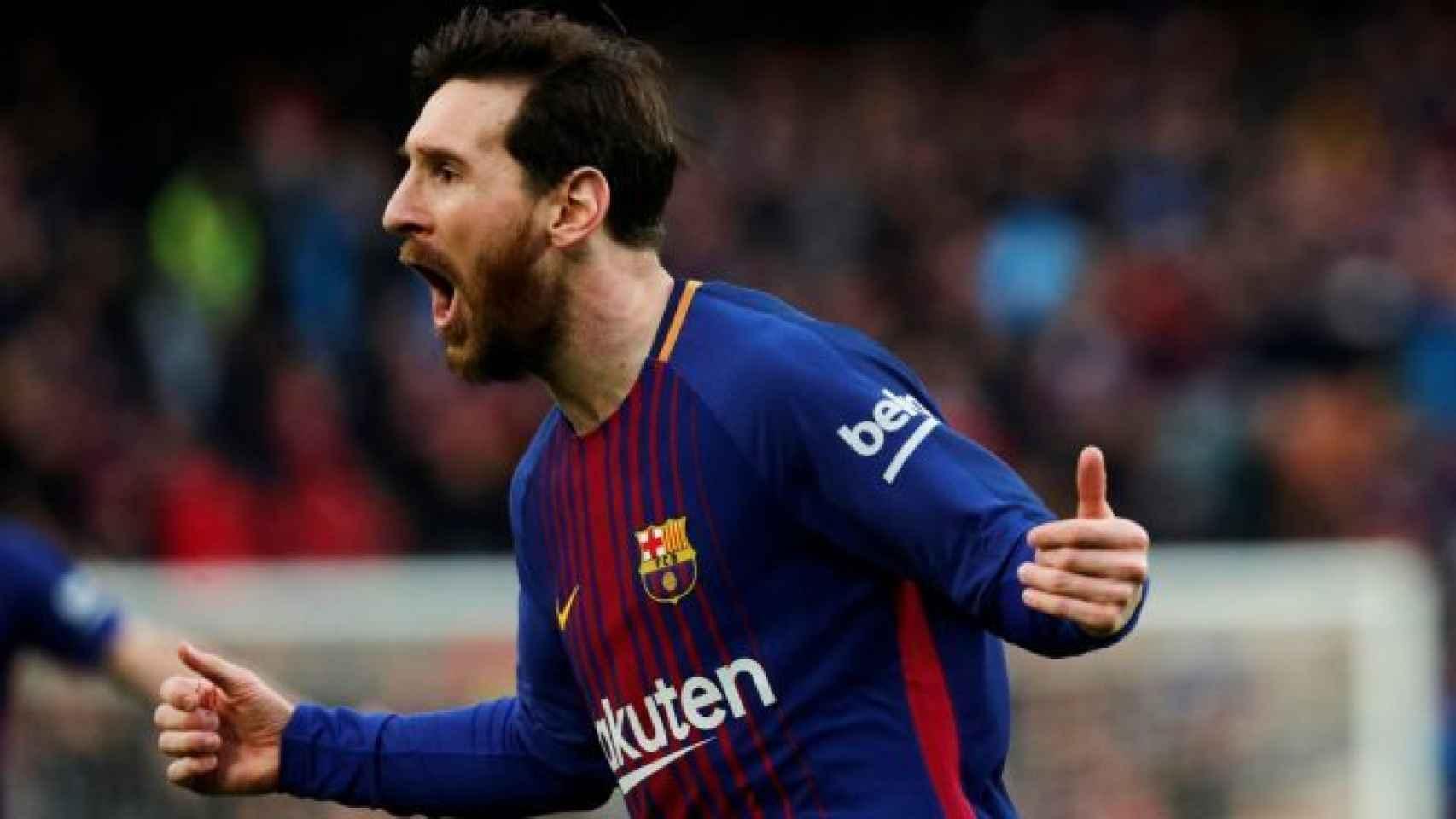 Messi celebra un gol durante la pasada temporada. Foto: EFE