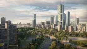 Simulación de Madrid Nuevo Norte, con el nuevo skyline y zonas verdes.