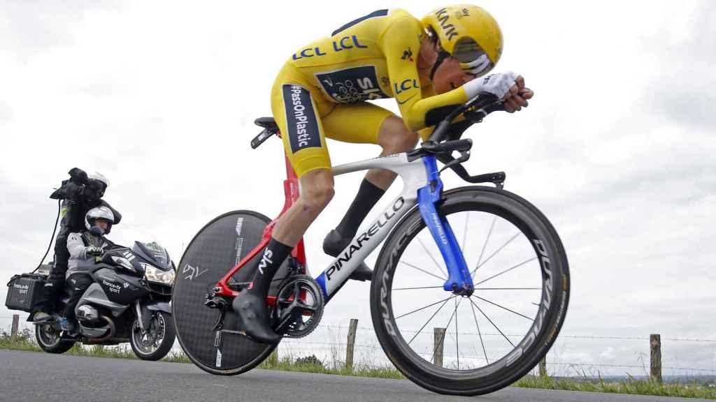 Geraint Thomas durante la contrarreloj individual del Tour de Francia.
