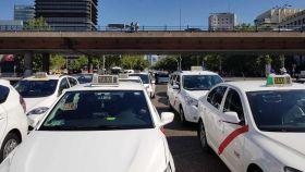 Concentración de taxis en Madrid.