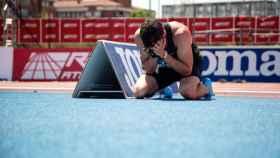 Bruno Hortelano, emocionado tras batir su récord en 200 en el campeonato de España.