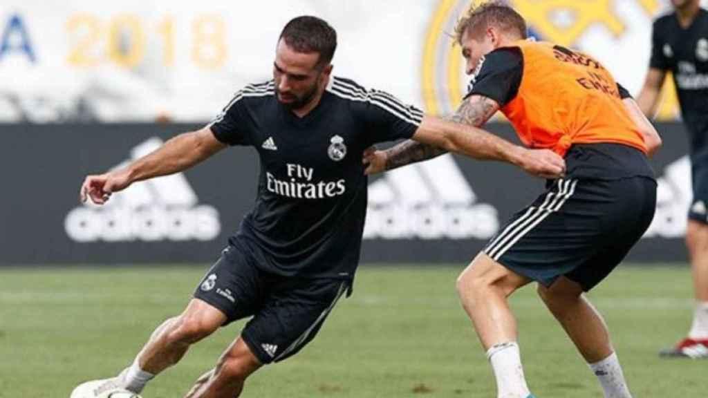 Carvajal y Kroos, en un entrenamiento del Real Madrid