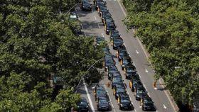 Taxistas en la Gran Vía de Barcelona