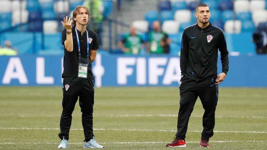 Kovacic y Modric con Croacia