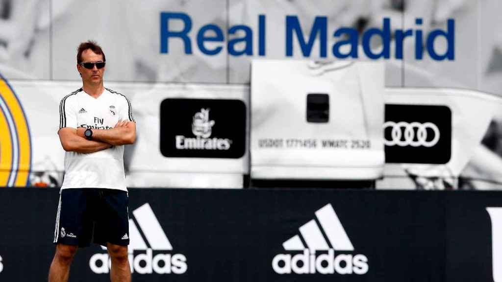 Julen Lopetegui, durante un entrenamiento del Real Madrid
