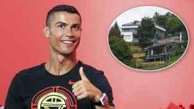 Cristiano Ronaldo con su casa en Turín en un montaje.