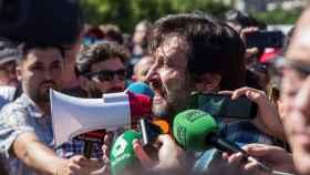 El portavoz de Podemos Rafa Mayoral este martes en Madrid.