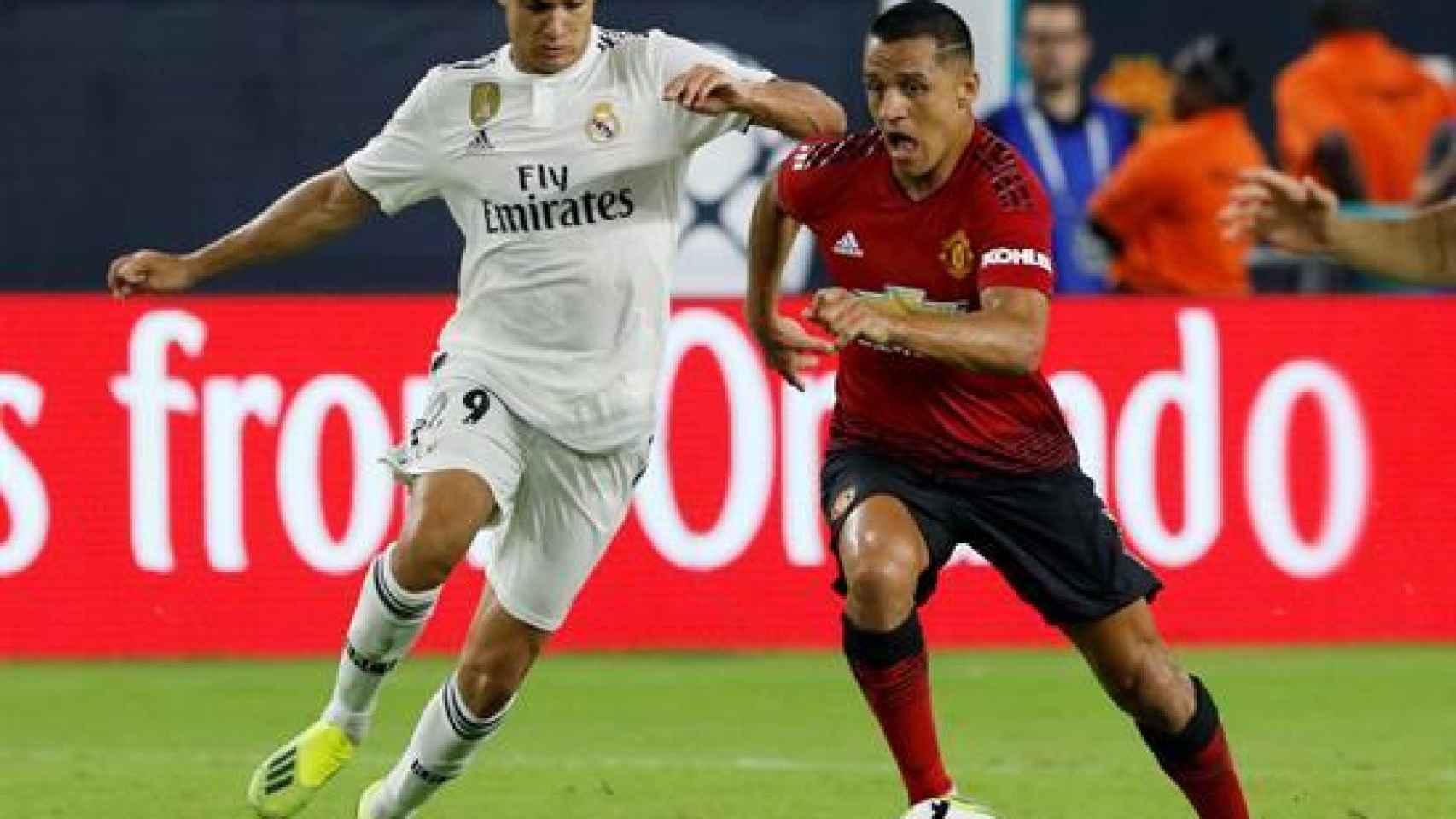 Sergio Reguilón, en el Manchester United - Real Madrid