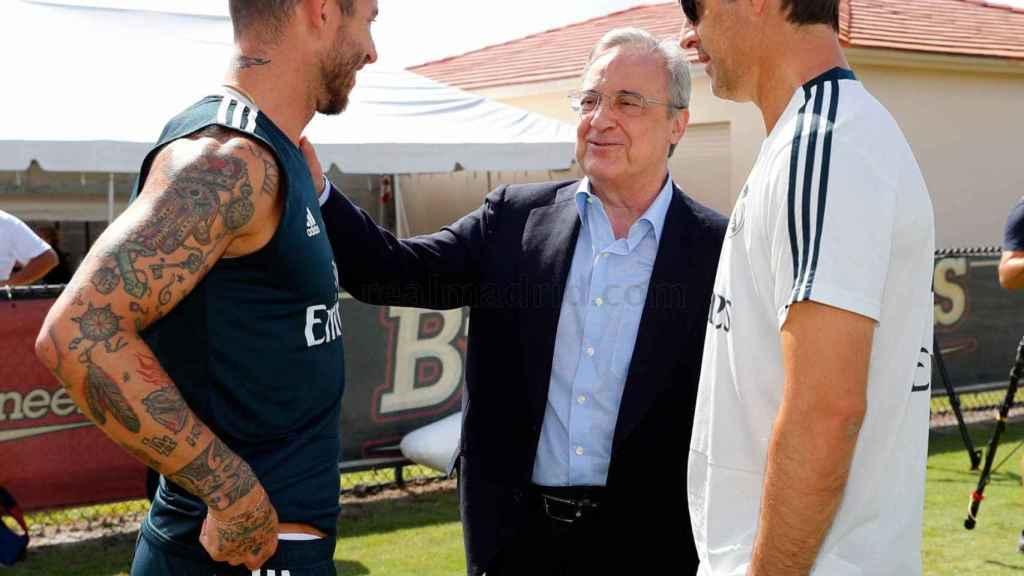 Florentino saluda a Lopetegui y Ramos