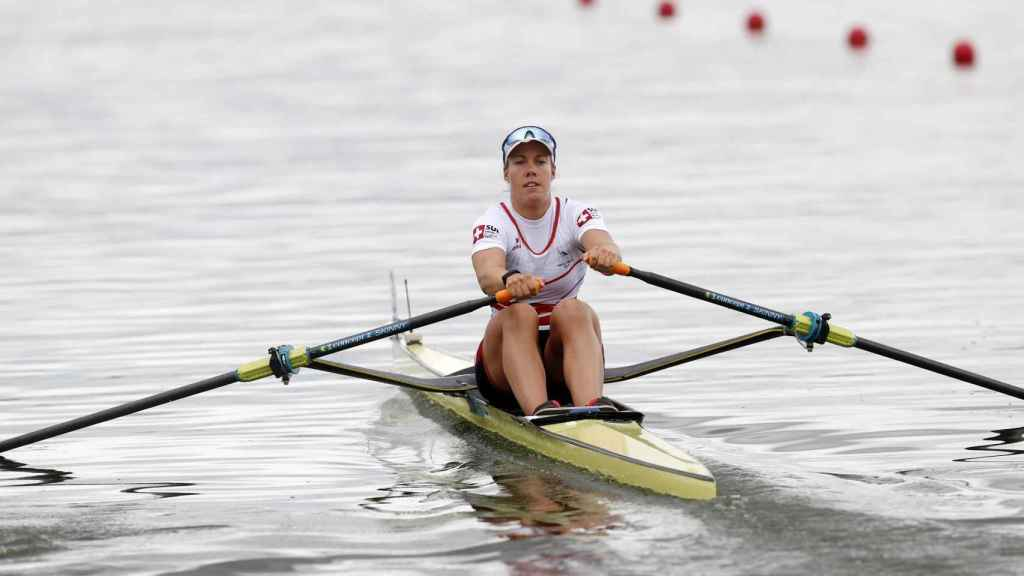 Jeannine Gmelin, durante el primer día de competición. Foto: REUTERS