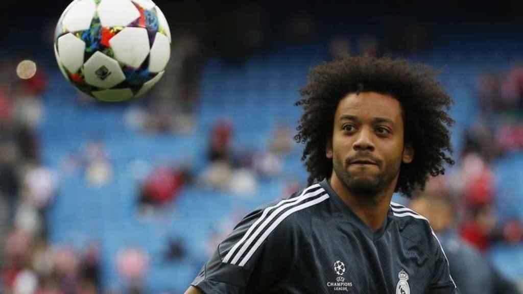 Marcelo durante un entrenamiento con el Madrid en Champions